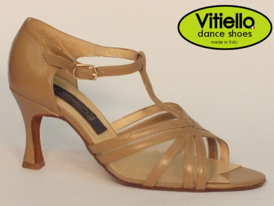 Click here to view image Women's dance shoes for Latin-American dances made with genuine camel leather and grid, heel 70N
