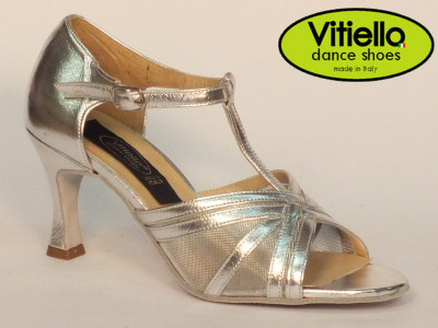 Click here to view image Women's dance shoes for Latin-American dances made with genuine silver leather and grid, heel 70N