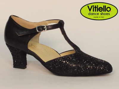 Click here to view image Women's dance shoes for Standard dances genuine black leather and crystal heel 5cm