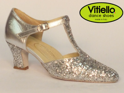 Click here to view image Women's dance shoes for Standard dances genuine silver leather and crystal heel 5cm