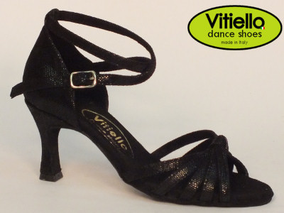 Click here to view image Latin dance shoes for Ladies made in genuine satin black leather with crossed node and heel 70N
