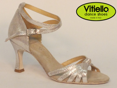 Click here to view image Latin dance shoes for Ladies made in genuine satin silver leather with crossed node and heel 70N