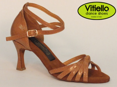 Click here to view image Latin dance shoes for Ladies made in genuine satin brown leather with crossed node and heel 70N