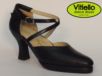 Click here to view image Women's latin-american dance shoes made in genuine black leather heel 70E and plateau