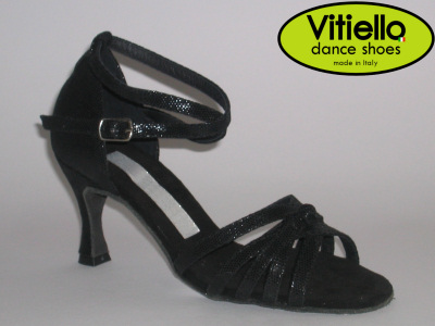 Click here to view image Women's dance shoes for Latin American dances genuine black satin leather with node heel 70N