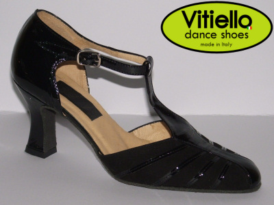 Click here to view image Women's Standard dance shoe made of black chamois and shiny leather with a 70E heel