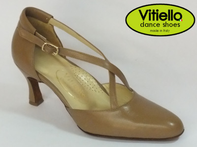 Click here to view image Women's dance shoes for Standard dances genuine camel leather heel 7cm