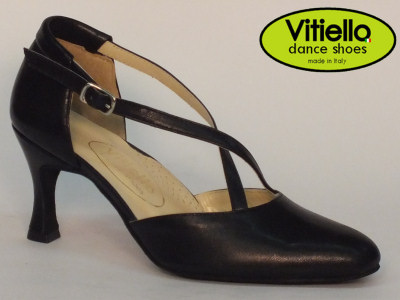 Click here to view image Women's dance shoes for Standard dances genuine black leather heel 7cm