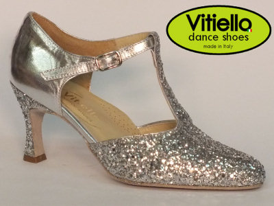 Click here to view image Women's dance shoes for Standard dances genuine silver leather and crystal heel 7cm