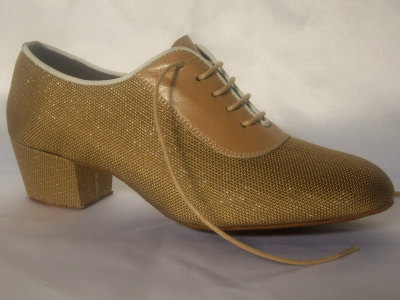 Click here to view image Women's dance shoes for training made in golden cloth Jam, heel 40