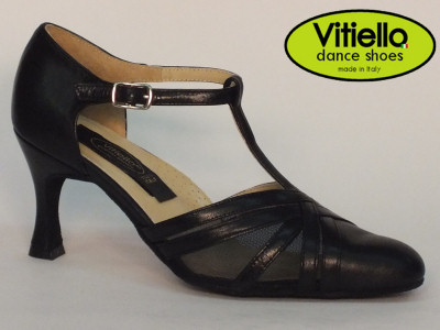 Click here to view image Women's dance shoes for Standard dances made with genuine black leather and grid, heel 70N