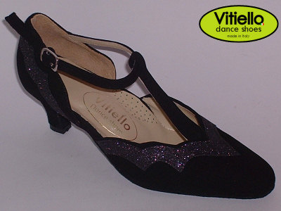 Click here to view image Women's dance shoes for Standard dances with genuine black nakub and fine black crystal, heel 50R