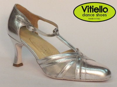 Click here to view image Women's dance shoes for Standard dances made with genuine silver leather and grid, heel 70N