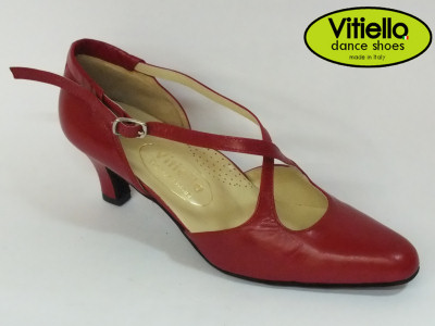 Click here to view image Women's dance shoes for Standard dances genuine red leather heel 50R and cross strap