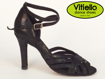 Click here to view image Women's dance shoes for Latin-American dances made with genuine black leather satin, heel 90D