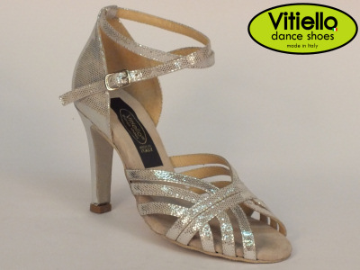 Click here to view image Women's dance shoes for Latin-American dances made with genuine silver leather satin, heel 90D
