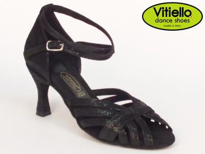 Click here to view image Women's dance shoes for Latin-American dances made with genuine black leather satin, heel 70N