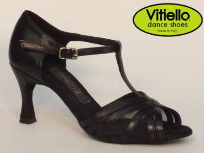 Click here to view image Women's dance shoes for Latin-American dances made with genuine black leather and grid, heel 70N